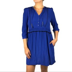 Anthro Maeve Blue Black Trimmed Dress Size Small